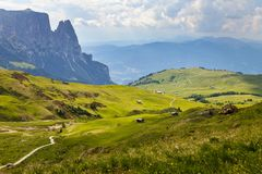 Alpe di siusi in South Tyrol, Italy. Mountain peaks around the plateau in Alpe di siusi in South Tyrol, Italy stock photo