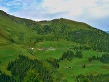 Alpe-prospettiva austriaca su Hirschbichlalm dalla strada di Zillertaler Immagine Stock