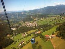 Alpe robi siusi cablecar Zdjęcie Royalty Free