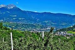 Alpe-vista italiana della città Merano Immagini Stock