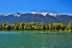 Alpe-vista italiana sul lago e sul Prato Stelvio allo Fotografie Stock