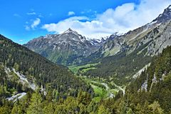 Alpe-vista svizzera dal Malojapass Fotografia Stock