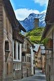 Alpe-vista svizzera di un ciclista in via Ardez della città Fotografia Stock Libera da Diritti