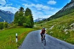 Alpe-vista svizzera sul ciclista sulla strada della montagna sopra Ardez Fotografia Stock