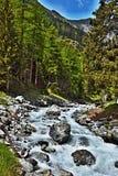 Alpe-vista svizzera sulla corrente vicino alla strada a Ftan Fotografia Stock Libera da Diritti