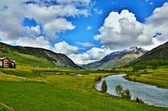 Alpe-vista svizzera sulla locanda del fiume Immagini Stock