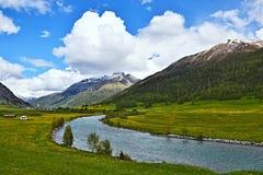 Alpe-vista svizzera sulla locanda del fiume Fotografia Stock Libera da Diritti