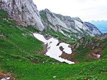 Alpejscy paśniki i łąki na skłonach Alpstein pasmo górskie w rzecznej Thur dolinie i obraz royalty free