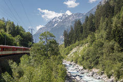 Alpejski pociąg w Szwajcarskich Alps Zdjęcie Stock