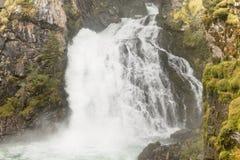 Alpejski strumień z siklawą wśrodku lasu w Ahrntal, WŁOCHY, - Obraz Stock