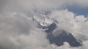 Alpejski szczytu landskape tło Jungfrau, Bernese średniogórze Alps, turystyka i przygoda wycieczkuje pojęcie, zbiory wideo