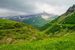 Alpejski szczytu landskape tło Jungfrau, Bernese średniogórze Alps, turystyka, podróż, wycieczkuje pojęcie zdjęcia royalty free