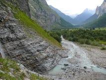 Alpejskiego lodowa strumień Szwajcaria, Unterstock, Urbachtal Obrazy Stock
