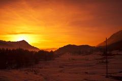 Alpen bij zonsondergang Stock Foto's