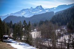 Alpen in blauw licht Stock Afbeeldingen