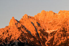 Alpen glow across a mountain range in bavaria Royalty Free Stock Images