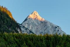 Alpen glow across a mountain range in bavaria Royalty Free Stock Photos