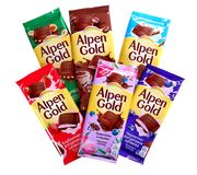 Alpen Gold. Novyy Urengoy, Russia - May 14, 2019: Different Alpen Gold chocolates isolated over white background royalty free stock photo