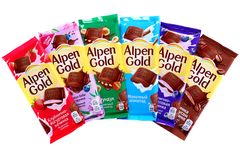 Alpen Gold. Novyy Urengoy, Russia - May 14, 2019: Different Alpen Gold chocolates isolated over white background stock photos