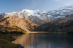 Alpen Landscape. Beautiful landscape photo of mountains and lake on Trubsee / Titlis, in the Swiss Alps royalty free stock photo