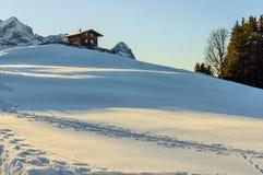 Alpen landskap i aftonen Arkivfoto