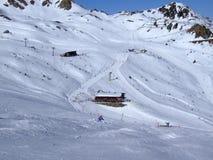 Alpen, skiamade Stockfoto