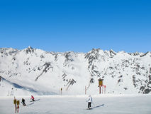 Alpen skiing. Skiing at the top of Alps. Austria Royalty Free Stock Photography