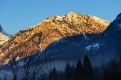 Alpen łuna blisko Chamonix de Mont Blanc Zdjęcia Stock