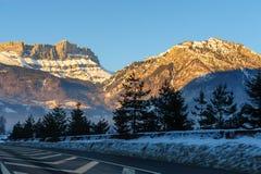 Alpen łuna blisko Chamonix de Mont Blanc Zdjęcie Stock