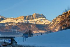 Alpen łuna blisko Chamonix de Mont Blanc Obraz Royalty Free
