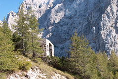 Alpenberge und alte Drahtseilbahn Stockfotografie