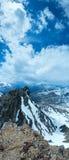 Alpenblumen über Gebirgsabgrund und -wolken Lizenzfreie Stockbilder