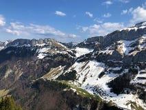 Alpengipfel Alp Sigel, Bogartenfirst und Schafberg im Alpstein-Gebirgszug und in der Appenzellerland-Region stockbild