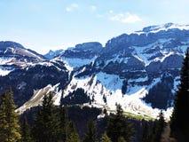 Alpengipfel Bogartenfirst und Schafberg im Alpstein-Gebirgszug und in der Appenzellerland-Region lizenzfreies stockfoto