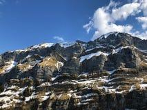 Alpengipfel Schafberg und Marwees im Alpstein-Gebirgszug und in der Appenzellerland-Region lizenzfreie stockfotos
