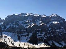 Alpengipfel Schafberg und Marwees im Alpstein-Gebirgszug und in der Appenzellerland-Region stockbild