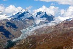 Alpengletscher, der in den Schweizer Alpen schmilzt Stockfotografie