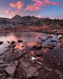 Alpenglow drammatico al picco del nord Fotografia Stock Libera da Diritti