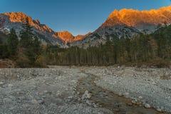 Alpenglow en Zell ve - Austria Imagen de archivo