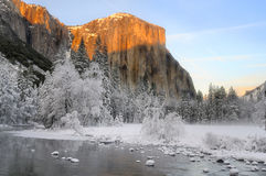 Alpenglow on the granite peaks in Yosemite valley Royalty Free Stock Photo