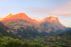 Alpenglow in Grindelwald, Switzerland Royalty Free Stock Image