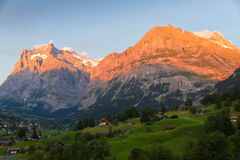 Alpenglow in Grindelwald, Switzerland. Alpenglow over alpine town Grindelwald in valley at sunset in front on mountain Eiger north face, Switzerland Stock Images