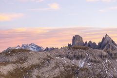 Alpenglow landscape. Peaks in alpenglow at dolomites mountain Stock Image