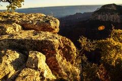 Alpenglow paints the cliffs and ridges Stock Photo
