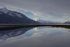 Alpenglow Reflection in Alaska Stock Photos