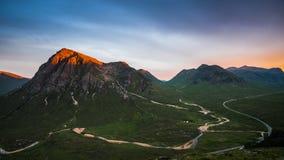 Alpenglow su MOR di Buachaille Etive Fotografia Stock