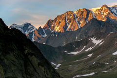 Alpenglow sulle alpi Fotografia Stock