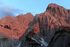 Alpenglow a Totenkirchl Fotografie Stock
