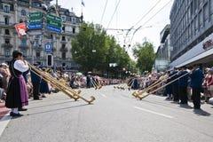 Alpenhorn Band Stockbild