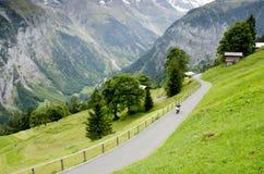 Alpenlandschaft mit Murren-Dorf in der Schweiz Stockbild